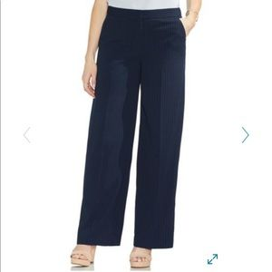 Vince Camuto pin stripe wide leg navy pants 8